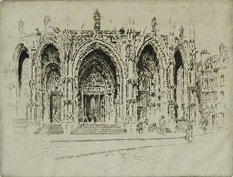 Porch of San Maclou, Rouen - JOSEPH PENNELL - etching
