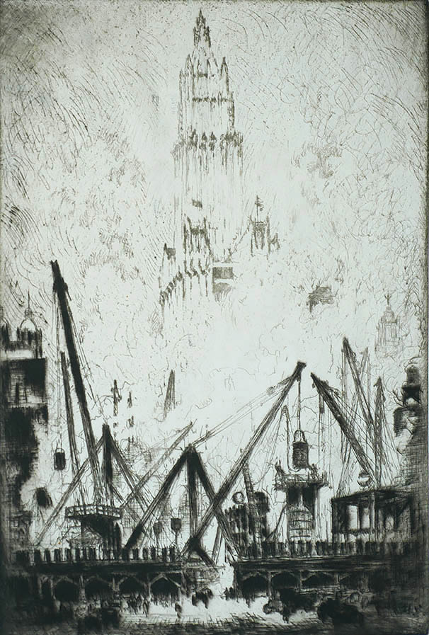 Caissons on Vesey Street (New York) - JOSEPH PENNELL - etching
