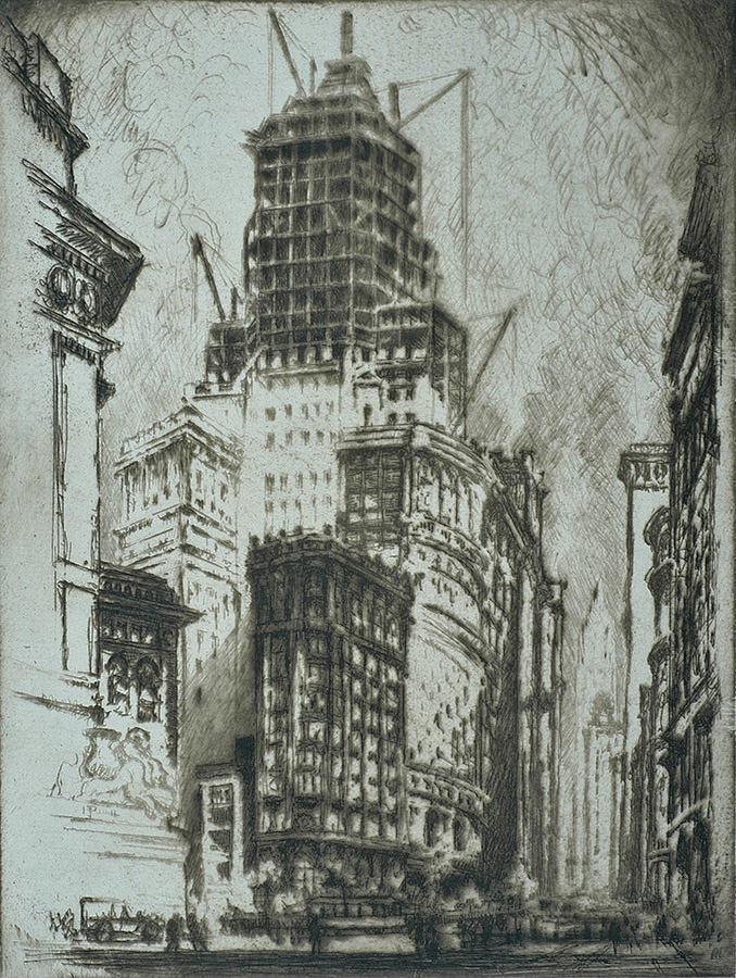 Standard Oil Building (New York) - JOSEPH PENNELL - etching