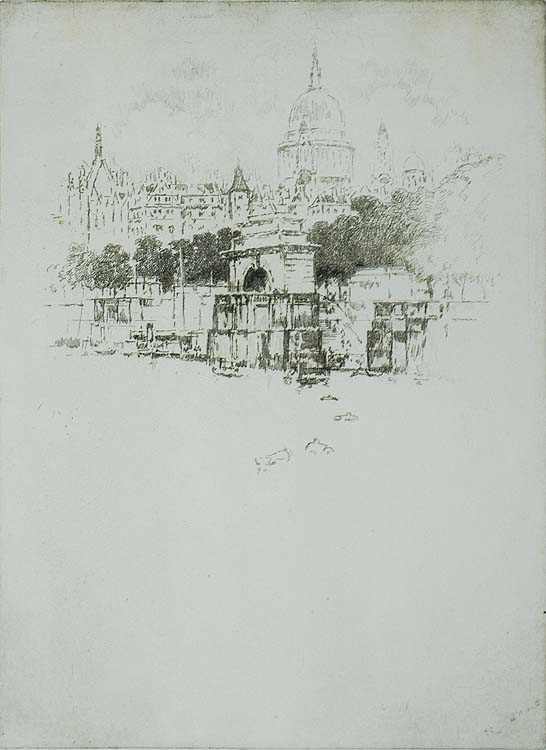 St. Paul's over Temple Stairs - JOSEPH PENNELL - etching