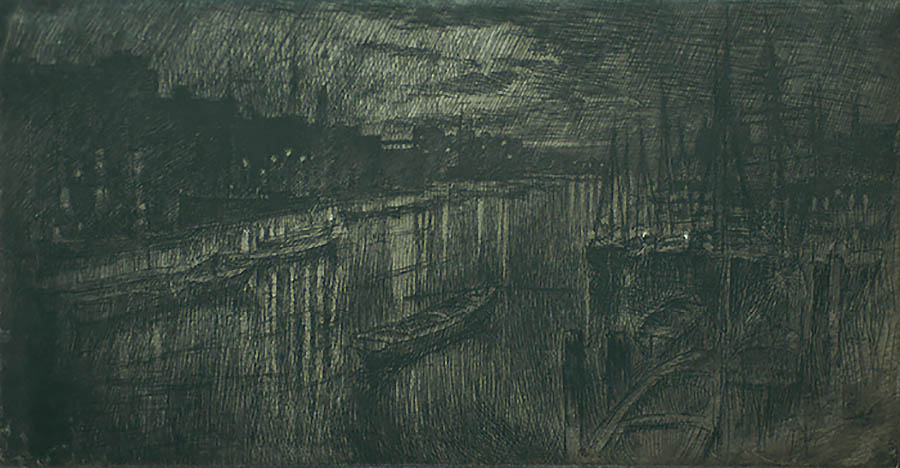 Thames Below the Bridges, Night - JOSEPH PENNELL - etching