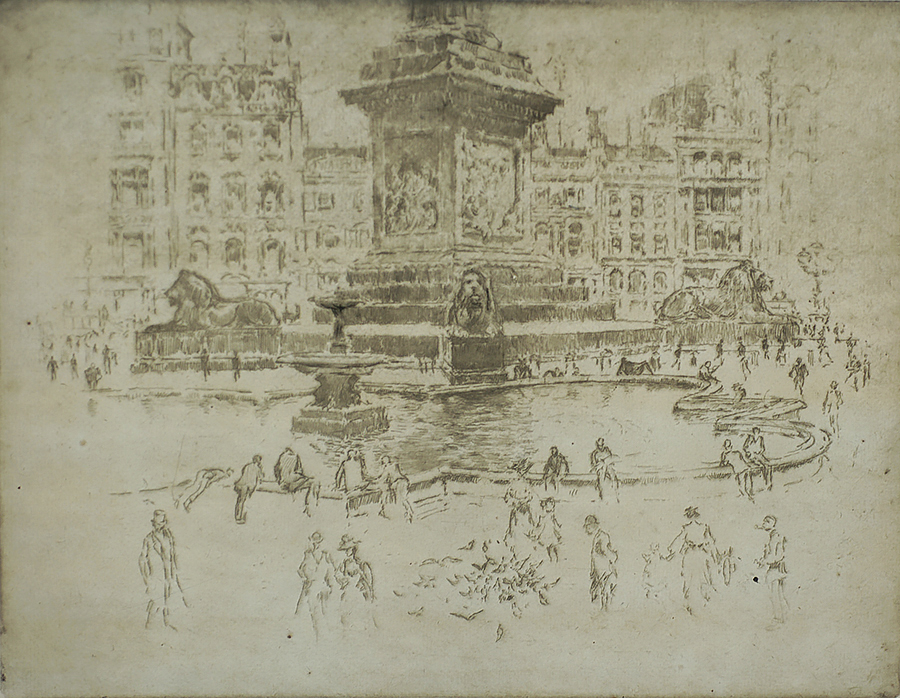 Trafalgar Square (London) - JOSEPH PENNELL - etching
