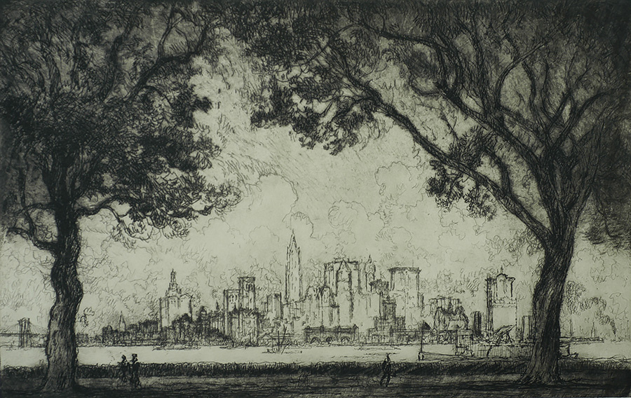 New York from Governor's Island - JOSEPH PENNELL - etching
