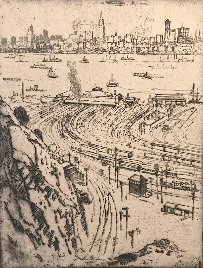 New York, from Weehawken - JOSEPH PENNELL - etching