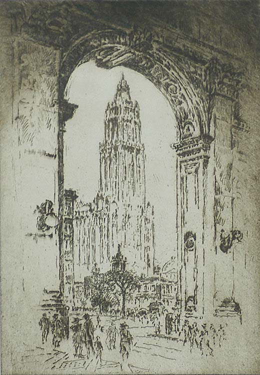 The Woolworth, Through the Arch - JOSEPH PENNELL - etching