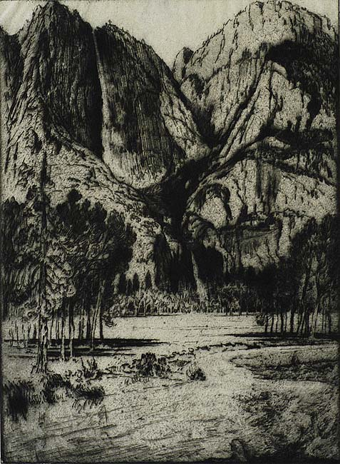 The Falls, Yosemite Valley - JOSEPH PENNELL - etching