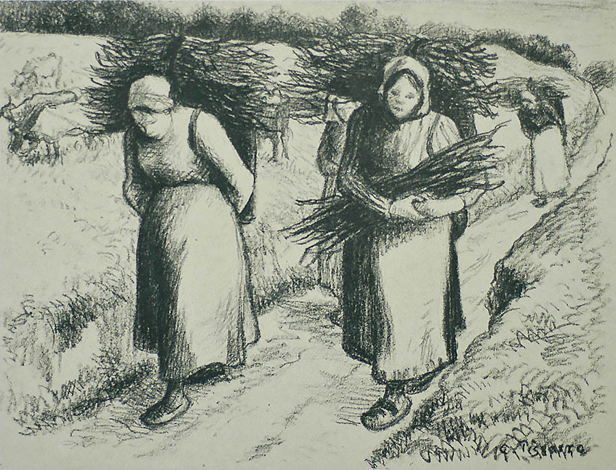 Porteuses de Fagots (Women Carrying Bundles of Sticks) - CAMILLE PISSARRO - lithograph
