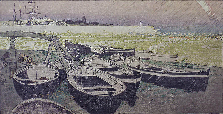 Pilchard Boats, Cornwall - JOHN PLATT - woodcut printed in colors