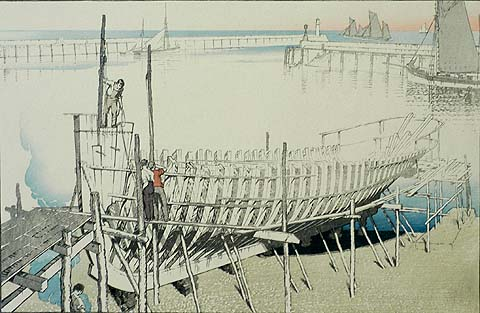 Building the Trawler - JOHN PLATT - woodcut printed in colors