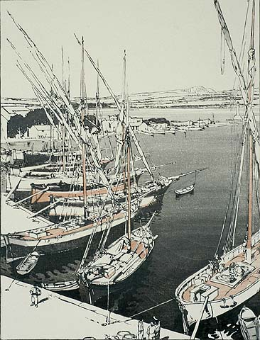 The Port of St. Tropez - JOHN PLATT - woodcut printed in colors