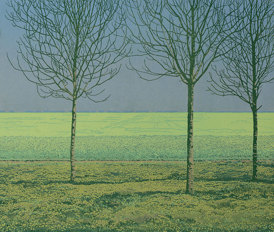 Landscape 2001-IV - GRIETJE POSTMA - woodcut printed in colors
