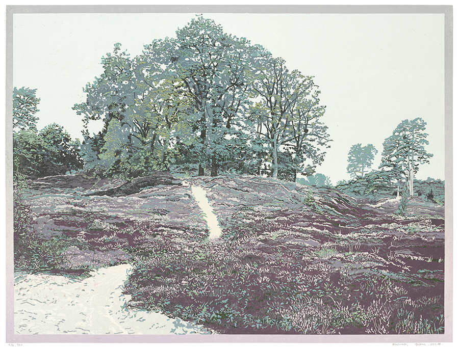 Landscape 2013-IV - GRIETJE POSTMA - woodcut printed in colors