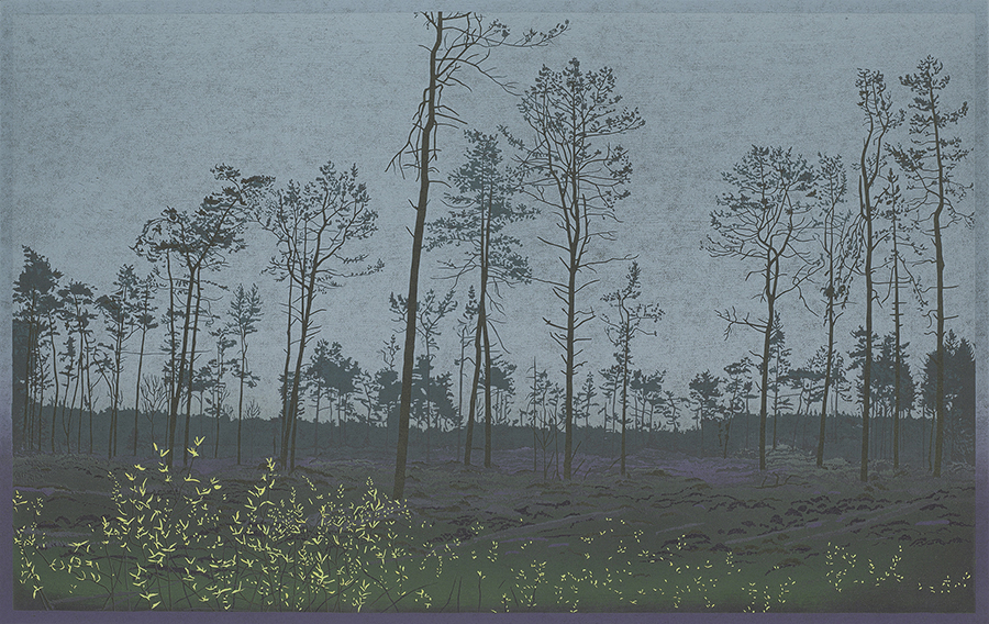 Landscape 2015-II - GRIETJE POSTMA - woodcut printed in colors