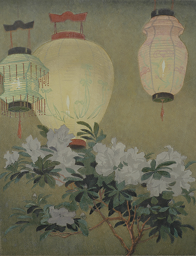 Lanterns and Azalea - ARTHUR RIGDEN READ - woodcut printed in colors