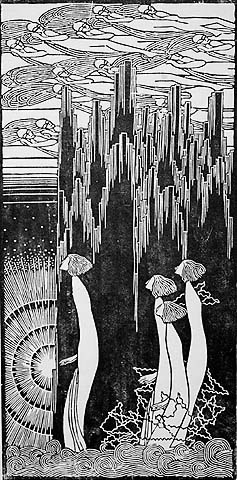 Four Figures, Facing Left - GERTRAUD B. REINBERGER - woodcut