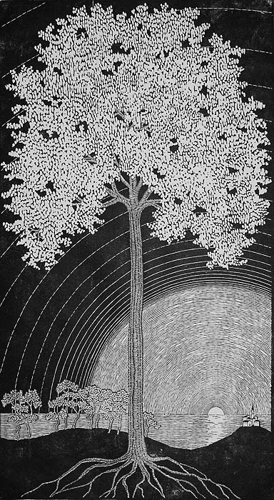 Blooming Tree (Bluhender Baum) - GERTRAUD B. REINBERGER - woodcut