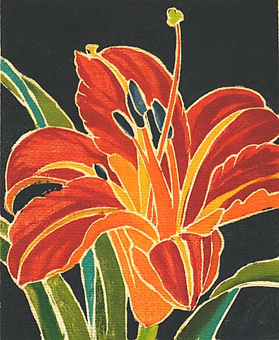 Day Lily - WILLIAM S. RICE - woodcut printed in colors