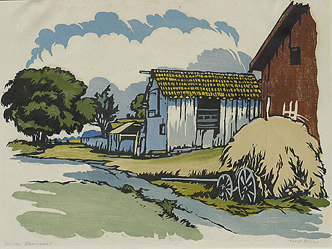 Alviso Farmyard - WILLIAM S. RICE - woodcut printed in colors
