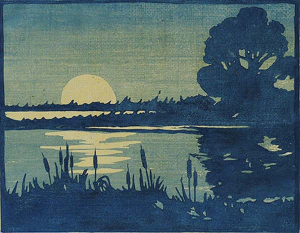 Marsh Moon - WILLIAM S. RICE - woodcut printed in colors