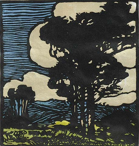 Windswept - WILLIAM S. RICE - woodcut printed in colors