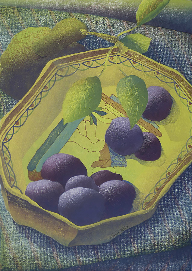 Fruit Dish - LUIGI RIST - woodcut printed in colors