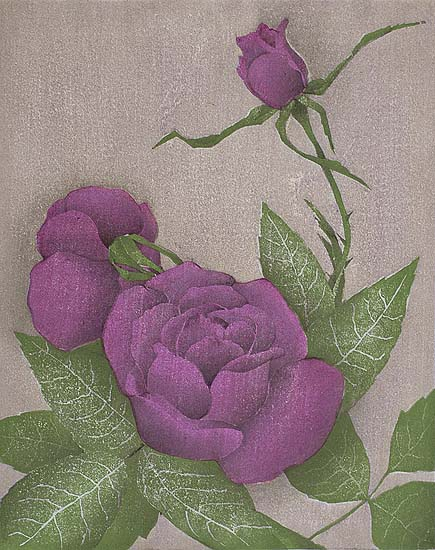 Three Red Roses - LUIGI RIST - woodcut printed in colors