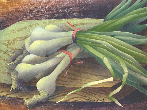 Scallions - LUIGI RIST - woodcut printed in colors