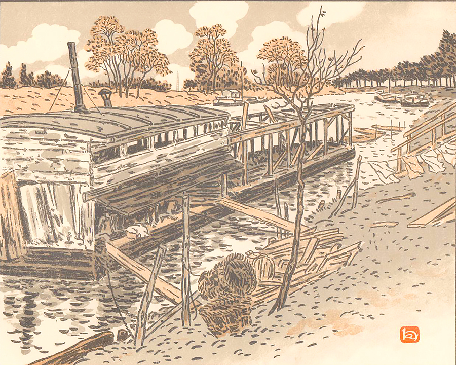 Du Bas-Meudon, Vieux Lavoir (From Bas-Meudon, Old Washhouse) - HENRI RIVIERE - lithograph printed in colors
