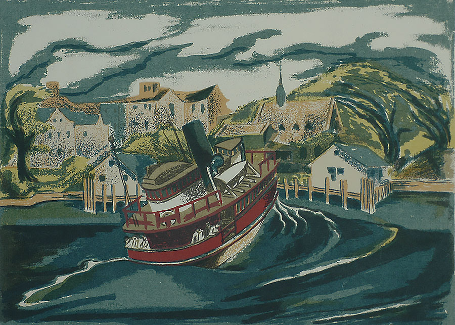 Ferry to Welfare Island, N.Y.C. - HULDA D. ROBBINS - screenprint