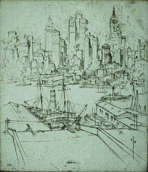 View of New York - ERNEST ROTH - etching
