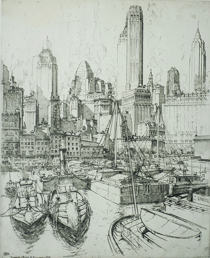 Towers, Tugs and Barges (New York) - ERNEST ROTH - etching