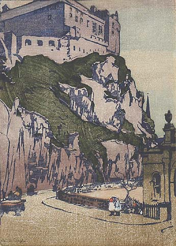 Edinburgh Castle - MABEL ROYDS - woodcut printed in colors