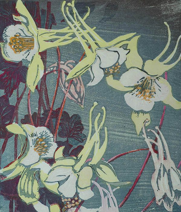 Columbines - MABEL ROYDS - woodcut printed in colors