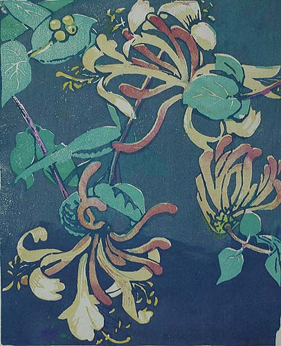 Honeysuckle - MABEL ROYDS - woodcut printed in colors