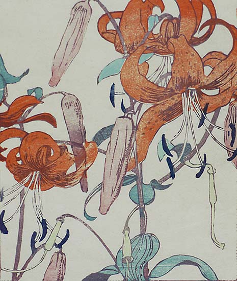 Orange Lilies - MABEL ROYDS - woodcut printed in colors