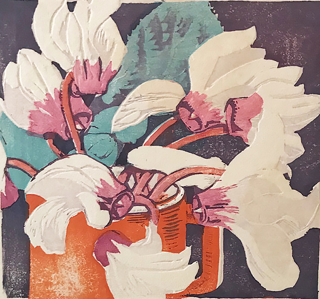 The Red Mug (Cyclamen) - MABEL ROYDS - woodcut printed in colors