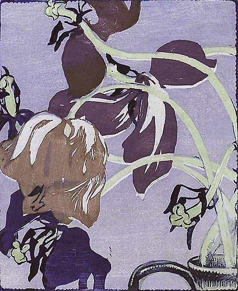 Tulips - MABEL ROYDS - woodcut printed in colors