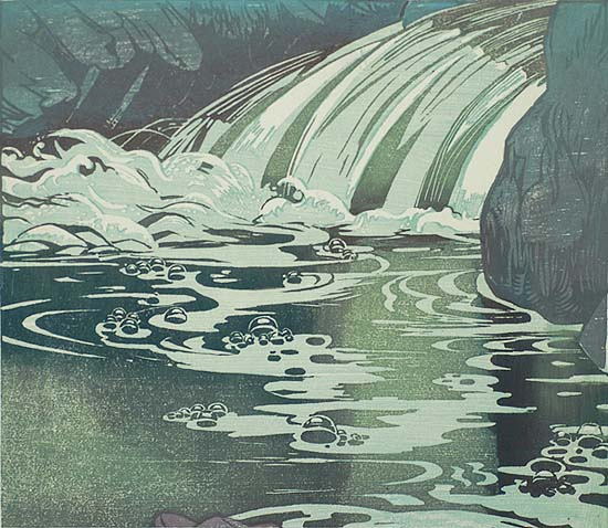 Waterfall - MABEL ROYDS - woodcut printed in colors