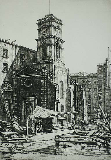 St. Olave's, Tooley Street - HENRY RUSHBURY - drypoint