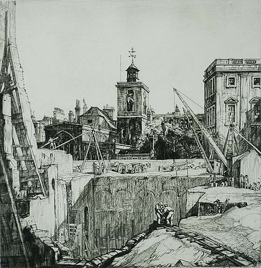 St. Olave's, Crutched Friars - HENRY RUSHBURY - drypoint and engraving