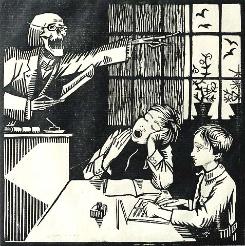 In the Classroom - WALTER SAUER - woodcut