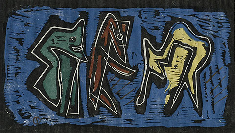 Composition with Figures - LOUIS SCHANKER - woodcut printed in colors