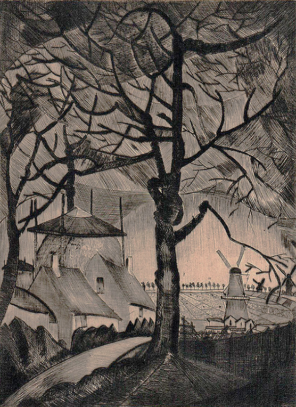 A Dutch Landscape with Tree and Windmills - LODEWIJK SCHELFHOUT - drypoint