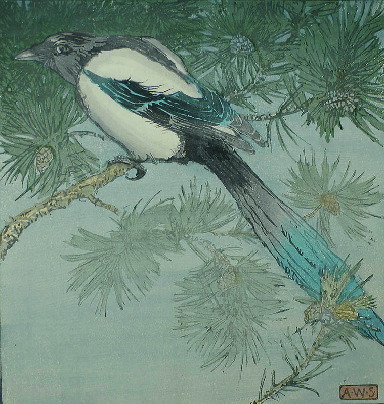 Magpie - ALLEN W. SEABY - woodcut printed in colors