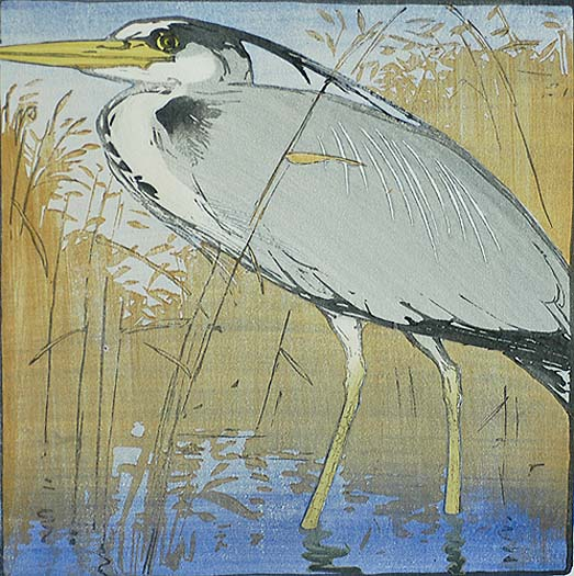 Heron - ALLEN W. SEABY - woodcut printed in colors