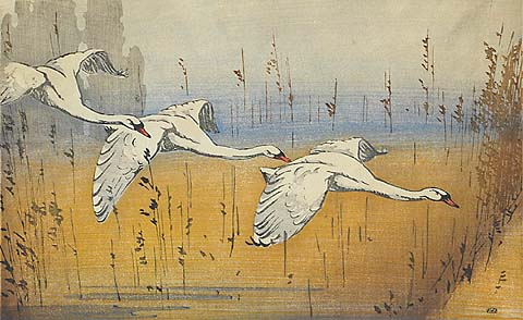 Three Swans - ALLEN W. SEABY - woodcut printed in color