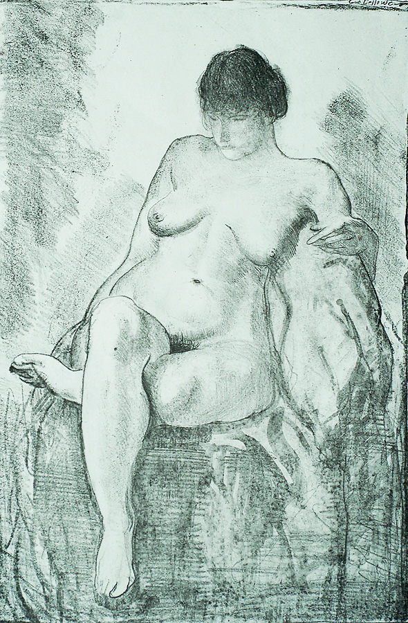 Nude Woman Seated (third state) - GEORGE BELLOWS - lithograph