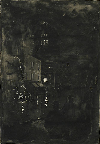 Fire Scene at Night (New York) - EVERETT  SHINN - aquatint with etching