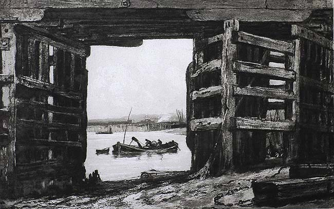 A Span of Old Battersea Bridge - FRANK SHORT - aquatint and soft ground etching