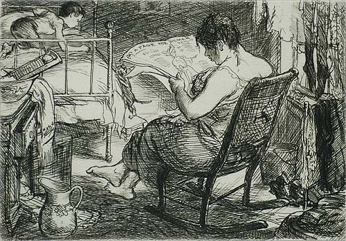 The Women's Page - JOHN SLOAN - etching